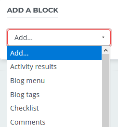 Drop-down list in the add a block