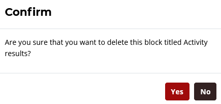 click yes to delete a block