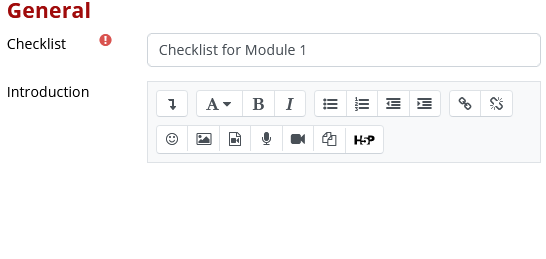 Enter a name for the activity in the Checklist field (required), and provide instructions in the Introduction field (optional).