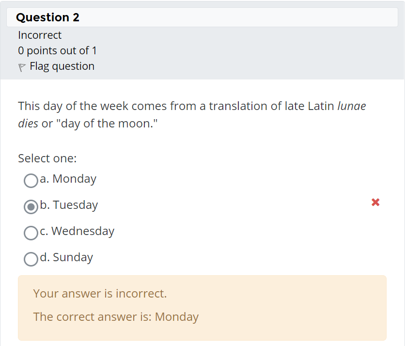 The student choice is shown as incorrect with the correct answer provided.