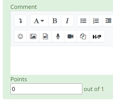 Comment textbox and points entry box