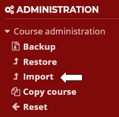 Click import in Administration block