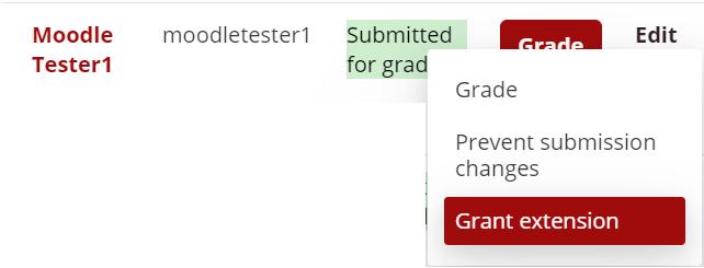 Edit menu contains Grant Extension