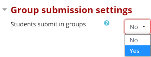 Group Submission Settings; Students submit in groups: Yes or No