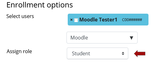 In the Assign Role Field, make sure Student is selected.