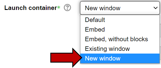 Launch container dropdown contains the New Window option