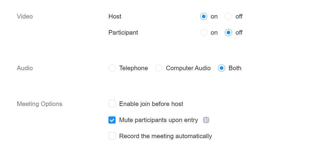 Audio, Video, Meeting options