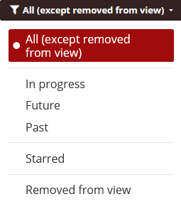 Filter course display by all, In progress, Future, Past, Starred or Removed from view.