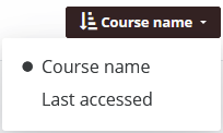 Course display option: Course name and Last accessed options