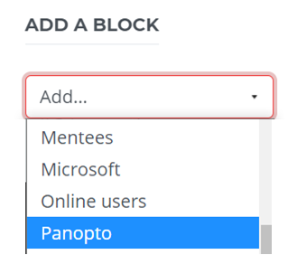 Add a block dropdown contains the word Panopto