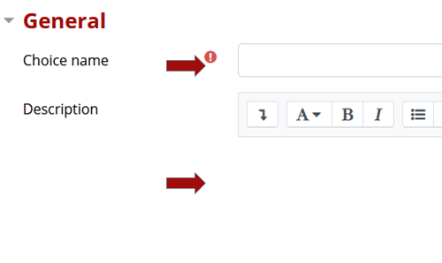 General setting including choice name and description