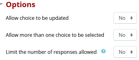 Options section including three options: Allow choice to be updated, allow more than one choice to be selected, and limit the number of responses allowed