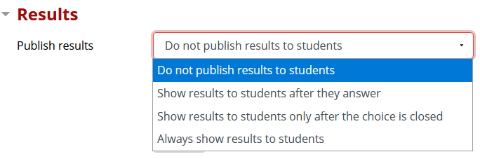 Publish results options