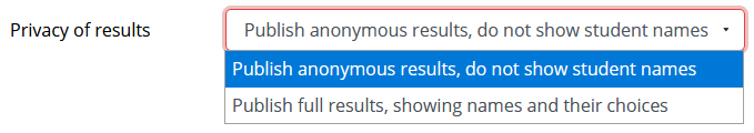 Privacy of results options