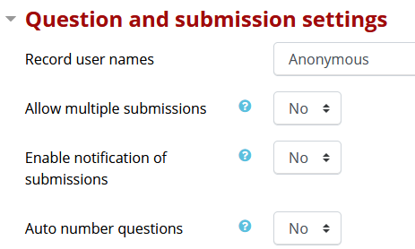 Question and submission settings