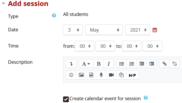 Add session setting including type, date, time and description