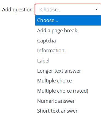 Feedback question types