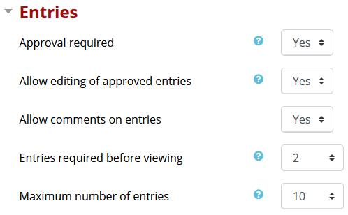 Entries setting