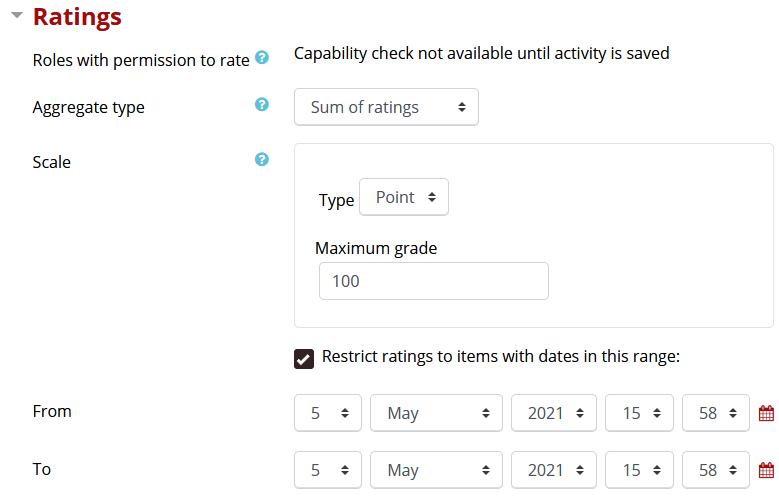 Ratings setting