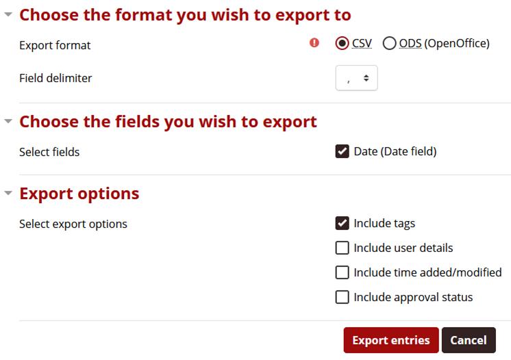 export options