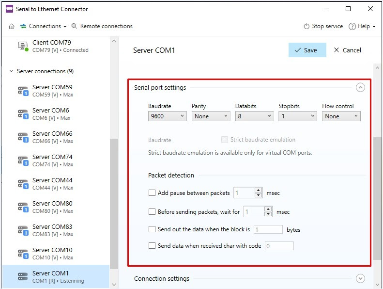 Serial port settings