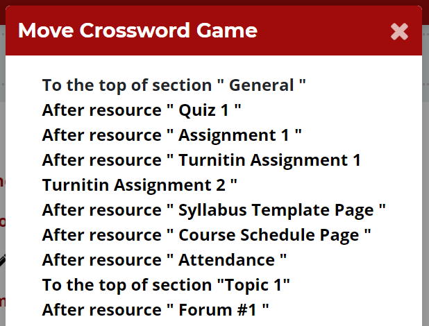 Move Crossword Game appears at the top of a list of all items in the class.