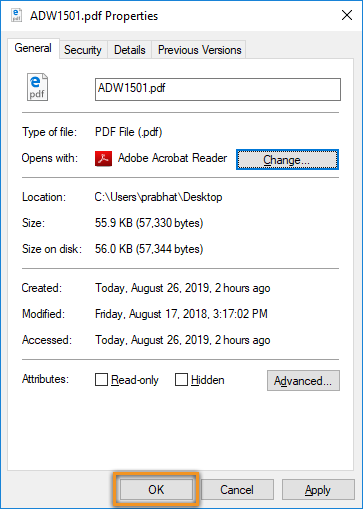 Click OK in the Properties dialog box
