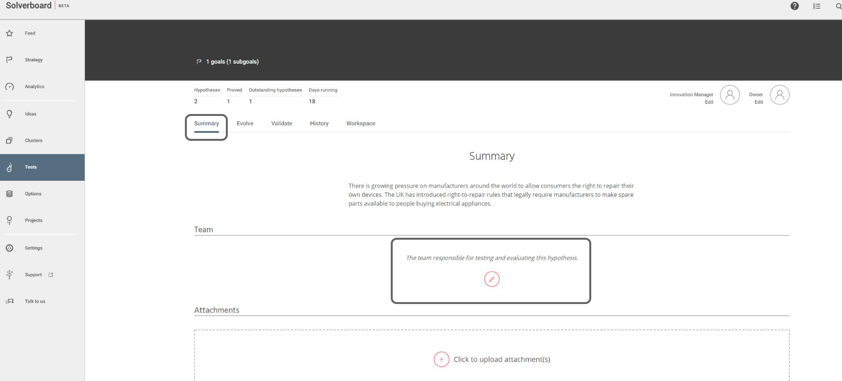 Shows Tests > Summary. Team panel is highlighted.