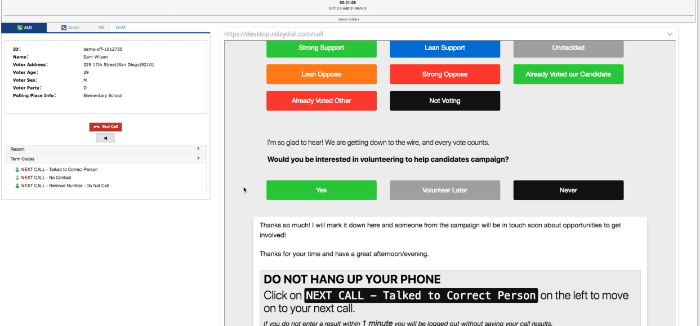 """GIF: The selections for """"Not ready"""" and for """"Ready"""" appear in a new pop-up between every call, immediately after you select the proper call result."""