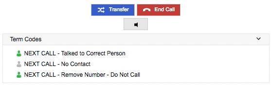 The transfer button appears near the bottom of the left side of the screen, immediately above the term codes.