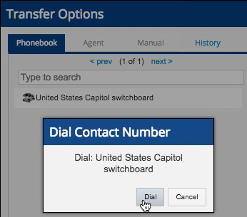 Double click on a name in the phone book, then the dial button appears in a confirmation dialogue.