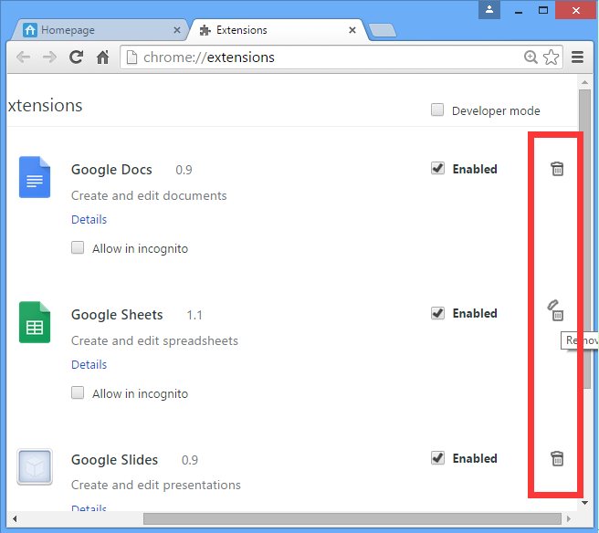 How to remove an extension from Google Chrome : Support