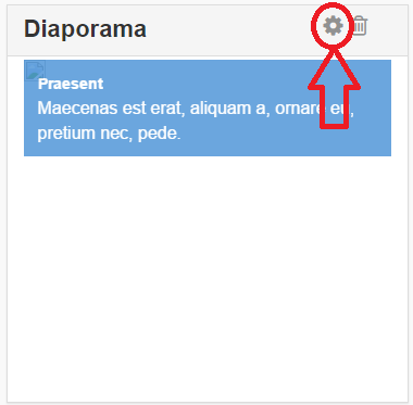 l'engrenage sur le widget diaporama