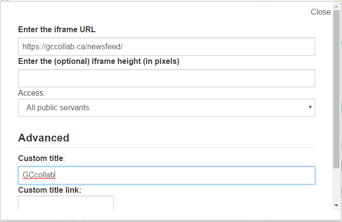 widget options, including the iframe URL, access levels and custom title