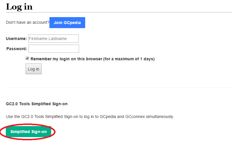 GCpedia log in page with simplified sign on button highlighted