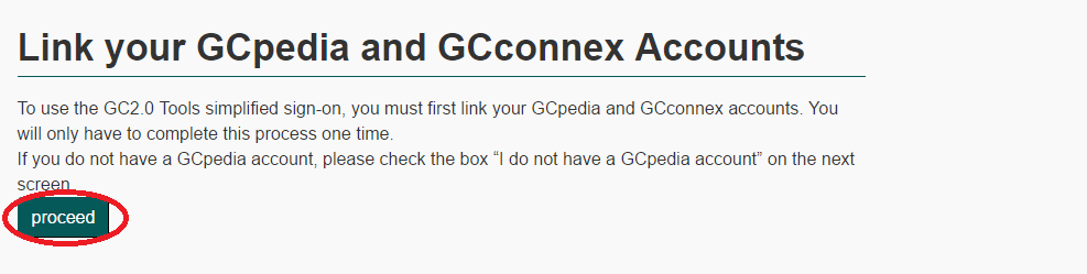 page allowing user to proceed with linking GCpedia and GCconnex accounts