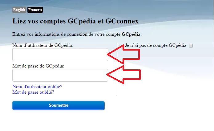 page qui demande a l'utulisateur leur nom et mot de passe pour GCpedia