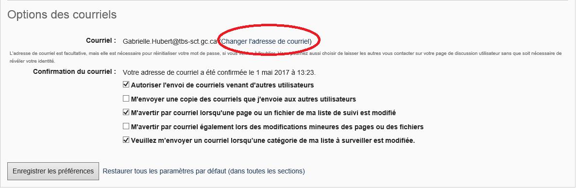 bouton changer l'adresse de courriel, sous les options des courriels