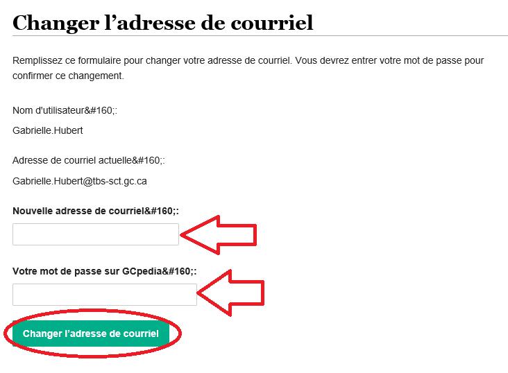 champs de text pour une nouvelle adresse de courriel et votre mot de passe GCpédia, suivi par le bouton changer l'adresse de courriel
