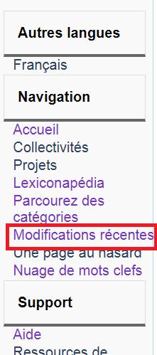 le lien pour modifications récentes dans la barre de navigation