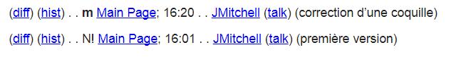 exemple d'une linge de modification, qui inclus un lien pour l'histoire de la page, la page elle-même, l'auteur de la modification, et autres détails