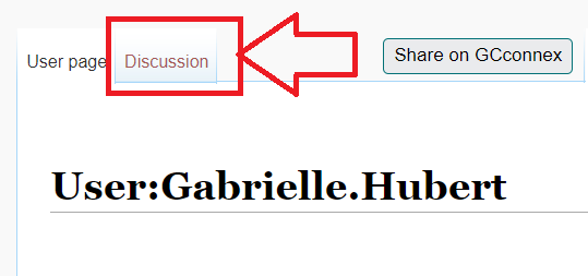 the discussion tab, at the top of a user's profile