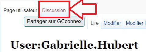 l'onglet de discussion sur une page d'utilisateur