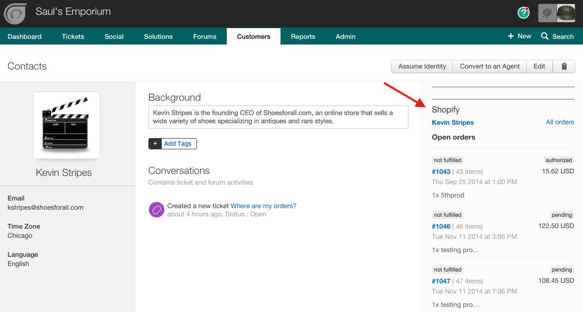 Shopify integration to bring in customer order information : Freshdesk