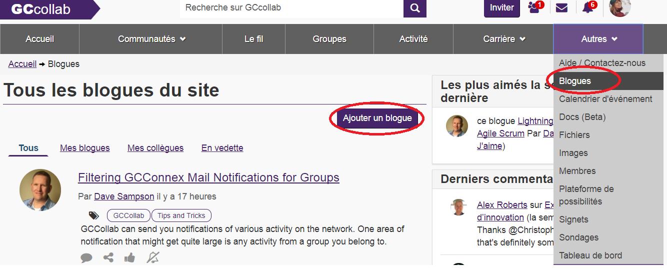 comment trouver le bouton blogues dans la barre de navigation