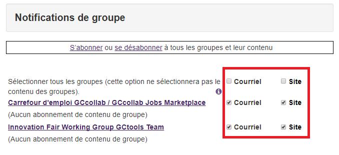 notifications de groupe