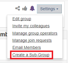 create a sub-group option under settings