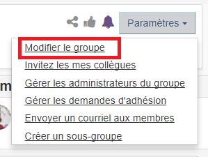 bouton modifier le groupe sous le menu paramètres