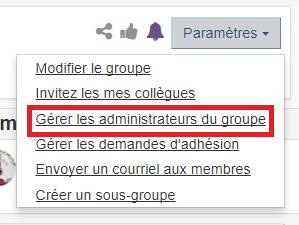 options gérer les administrateurs du groupe sous le menu paramètres