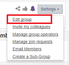 the edit group option under the settings menu